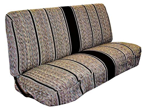 West Coast Auto Universal Baja Saddle Blanket Bench Full Size Seat Cover Fits Ford, Chevrolet, Dodge, and Full Size Pickup Trucks (Black)