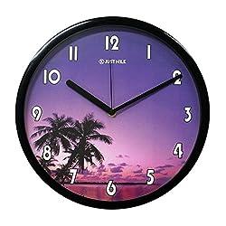 JustNile Non Ticking Quiet Sweep Movement Beach Theme Sunset Twilight Palm Tree Design Quartz Analog Wall Clock - 13 Black Frame with Black Hands