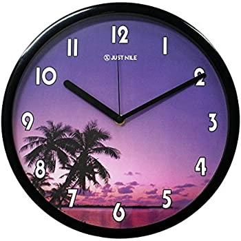"JustNile Non Ticking Quiet Sweep Movement Beach Theme Sunset Twilight Palm Tree Design Quartz Analog Wall Clock - 13"" Black Frame with Black Hands"