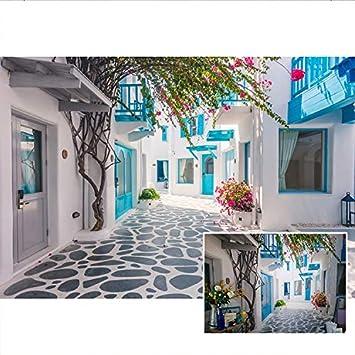 Yeele 5x3ft Santorini Photography Background Traditional Architecture Tourism Tourist Oia Village Blue Window Building Photo Backdrops Portrait Shooting Studio Props Wallpaper