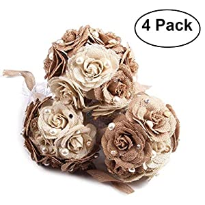 Tinksky Rustic Wedding Bouquet Burlap Flower Bouquet Lace and Pearls Wedding Anniversary Engagement Decoration, Christmas Gift, Pack of 4 12
