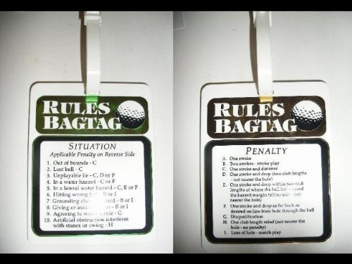Golf Rules and Penalties Bag Tag Straps to Golf Bag
