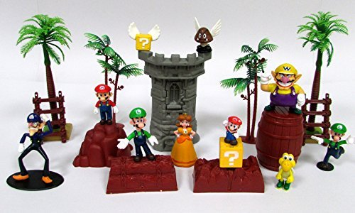 Price comparison product image Super Mario Brothers 17 Piece Playset Featuring Random Mario Character Figures and Accessories