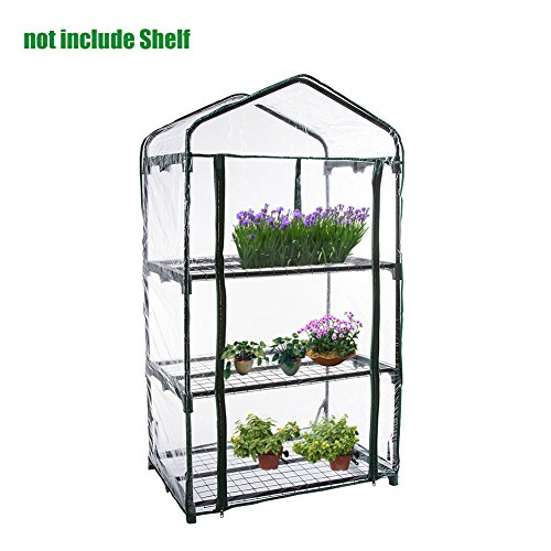 Bulary Shengruhua 3 Tier PVC Plant Greenhouse Cover – Herb and Flower Garden Green House Replacement Accessories (Just Cover, Without Iron Stand, Flowerpot)