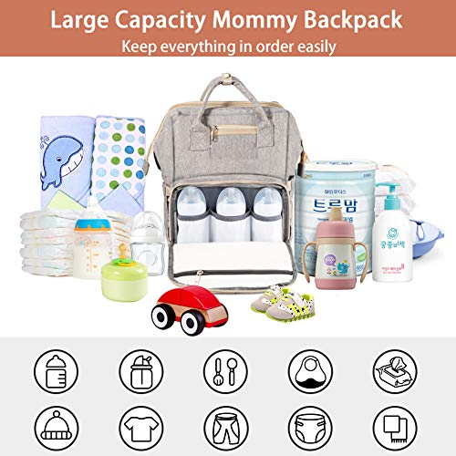 Petrichor Diaper Bag Backpack, Travel Portable Baby Diaper Bag with Changing Station Waterproof Diaper Bags for Baby Boys Girls Baby Bag Backpack with USB Charging Port Large Capacity Gray
