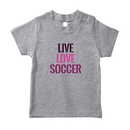 Live Love Soccer #2 Cotton Short Sleeve Crewneck Unisex Toddler T-Shirt Jersey - Oxford Gray, ()