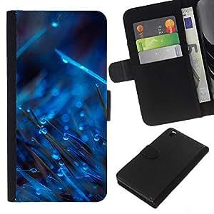 YiPhone /// Tirón de la caja Cartera de cuero con ranuras para tarjetas - AZUL GOTAS EN HIERBA - HTC DESIRE 816