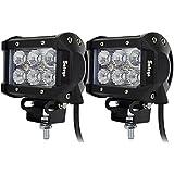 Safego 4' inch 18W LED Work Light Bar OffRoad Flood 4X4 4WD Car for Trucks ATV Tractor 12V 24V LED Driving Fog Lights C18W-FL Pack of 2