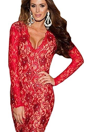 Rot Rückenfrei Spitze figurbetontes Kleid Club Wear Größe UK/M 10–12