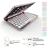iPad-Mini-4-Case-KeyboardGenjia-Portable-Carrying-Holder-Aluminum-Alloy-Bluetooth-Wireless-Keyboard-Backlit-Flip-Hard-Cover-Scratch-Proof-Auto-SleepWake-Smartcover-for-Apple-iPad-Mini-4-Rose-Gold