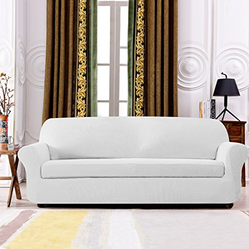Subrtex Spandex Stretch 2-Piece Slipcovers (Loveseat,Off-White) Off White Fabric Seat