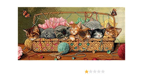 18 x 9 Dimensions NOM330100 Gold Collection Kitty Litter Counted Cross Stitch Kit 18 Count