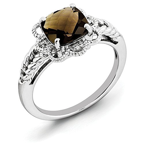 Cut Diamond Cushion Ring Bow (Smoky Quartz & .04 Ctw (H-I Color, I2-I3 Clarity) Diamond Scalloped Sterling Silver Ring, Size 7)