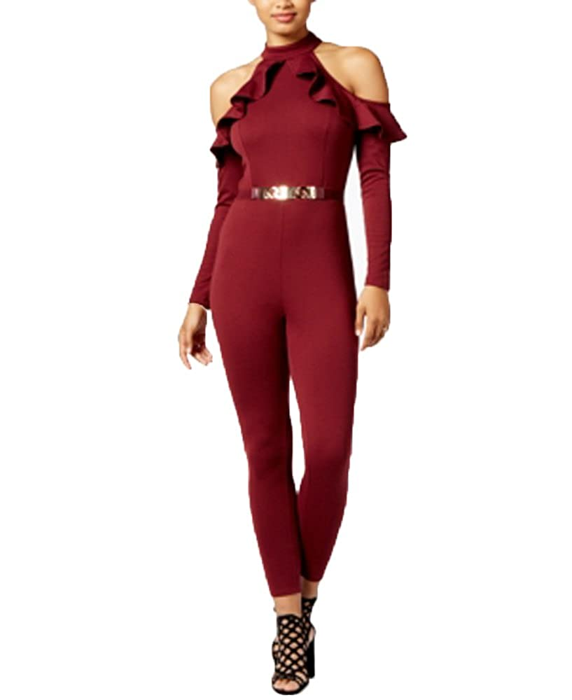 Material Girl Juniors Cold-Shoulder Ruffled Jumpsuit