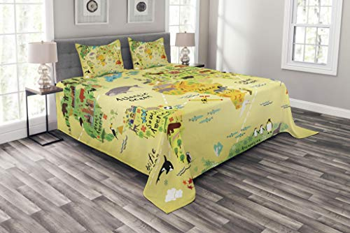 Lunarable Africa Bedspread Set Queen Size, Educational World Map Africa America Penguins Atlantic Pacific Animals Australia, Decorative Quilted 3 Piece Coverlet Set with 2 Pillow Shams, Multicolor by Lunarable
