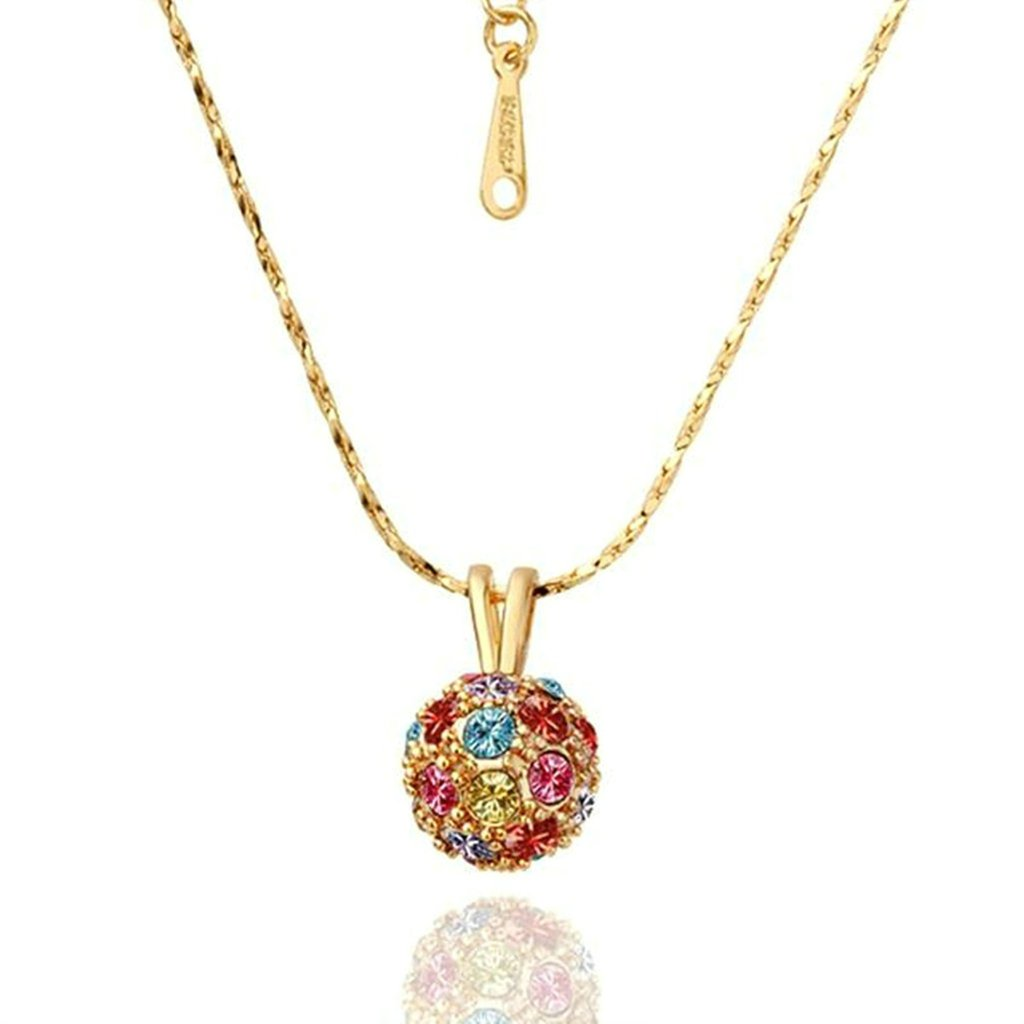 Aooaz Jewelry Womens Gold Plated Pendant Necklace Ball Cz Multicolor Gold Wedding Necklace Charm Necklace