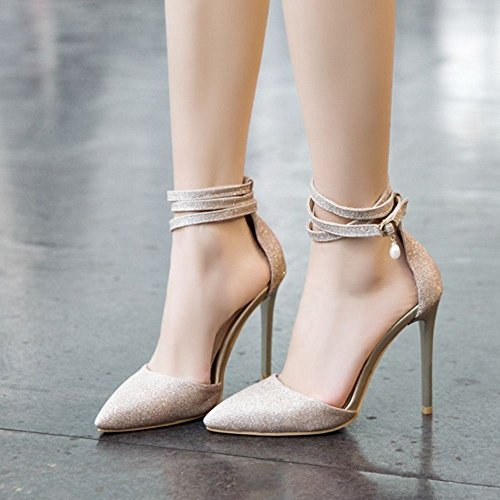 TAOFFEN Donna Caviglia 9 Altos Gold Cinturino Sandali Tacco D'Orsay alla 66rgRx