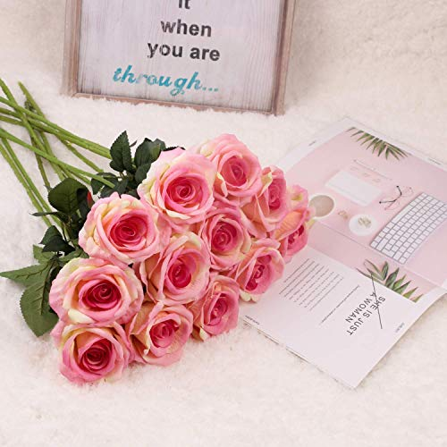 Pink Garden Blossoms Bouquet - Homcomoda Artificial Flowers 12pcs Flannel Pink Rose Flower Fake Blossom Bridal Bouquet for Wedding Home Garden Decor