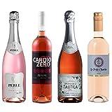 Rose Wine Sampler - Four (4) Non-Alcoholic Wines 750ml Each - Pierre Chavin Perle Rose, Elivo Cardio Zero Rose, Tautila Espumoso Rosado, and Le Petit Chavin Rose.