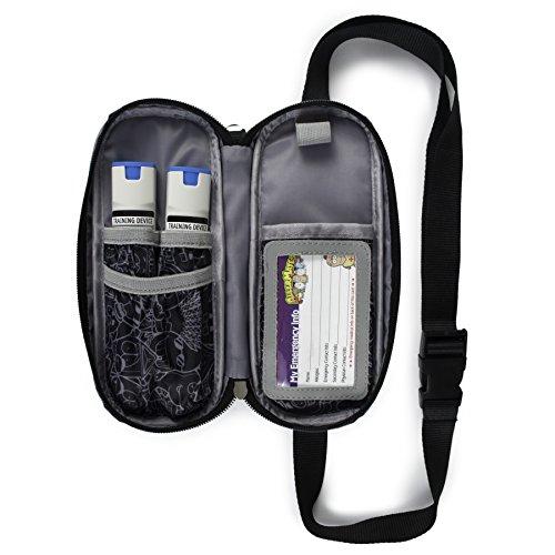EpiPen Carrying Case for Kids & Adults - Jet Black Allergy Medical Bag, Epi Pen Fanny Pack - Emergency Medical Carrying Case w/Medicine Bottle Holds:Daily Meds, EpiPens, Inhalers ID Card & More