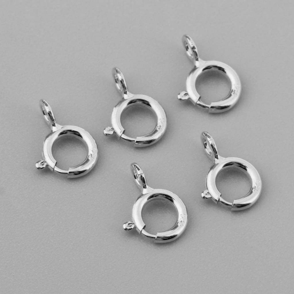 5pcs 925 Sterling Silver Spring Ring Clasp for Bracelet Necklack Jewellery Making Findings 5mm Gold