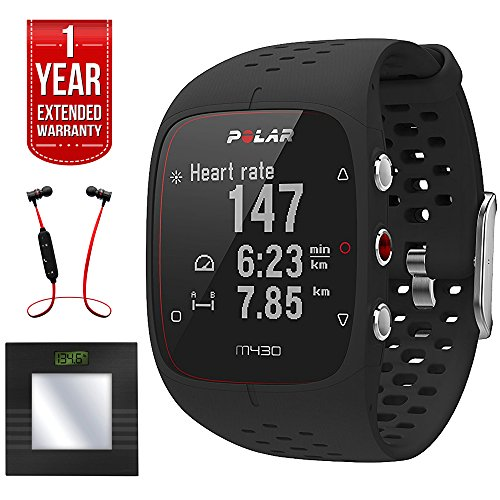 Polar M430 GPS Running Watch Black (90066335) + Total Fitness Bluetooth Digital Body Mass Bathroom Scale (Black) + Fusion Bluetooth Headphones Black/Red + 1 Year Extended Warranty by Polar