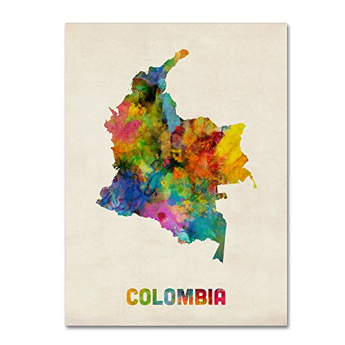(Colombia Watercolor Map by Michael Tompsett, 14x19-Inch Canvas Wall Art )