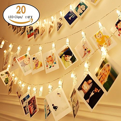 H.YOUNG Wall Deco LED Photo Clips String Lights,Perfect For Wedding Surprise Office celebrate And DIY Hanging Phtoes,20 Clips, 13 feet, Warm (Halloween Light Display Ideas)