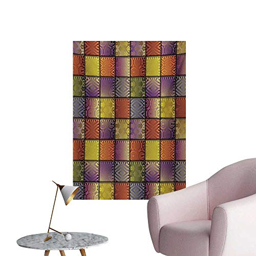 Anzhutwelve Fabric Photo Wall Paper Stitch-Like Digital Mix Motif with Inner Triangle Round Shapes ImagePurple Gold and Cinnamon W24 xL32 Cool Poster