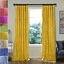 ChadMade 50W x 72L Inch Soft Premium Velvet Curtain Drapery with Blackout Thermal Lining Flat Hooks Header for Track, Yellow (1 Panel)