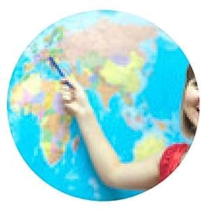 alfombrilla de ratón La mujer muestra algo en mapamundi - ronda - 20cm