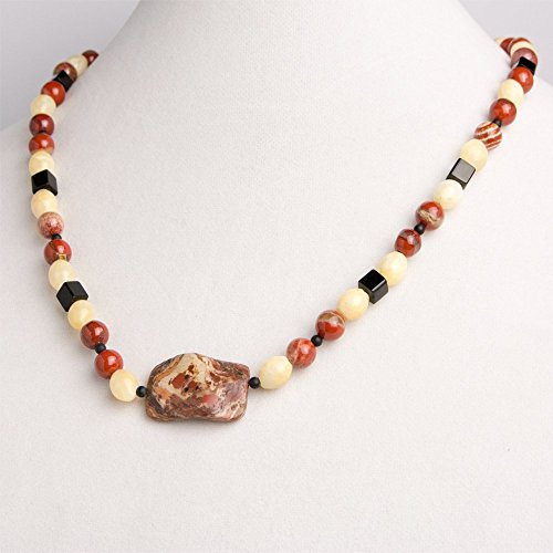 Onyx Rectangular Bracelets (Rectangular Jasper Pendant with Rust Colored Jasper Round Beads and Pale Yellow Agate Oval Beads Necklace, Earring, and Bracelet Set)