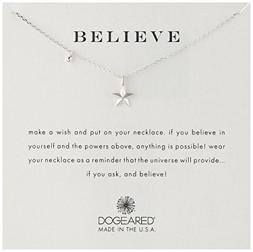 Designer Star Necklace - Dogeared Believe' Nautical Star Charm Bead Sterling Silver Chain Necklace