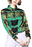 Women's Luxury Shirt Paisley Print Long Sleeve Button up Casual Blouse Top Green