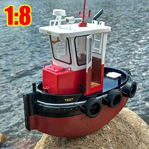 (FidgetKute 1:18 RC Tugboat Rescue Simulation ABS Wooden Boat Model Ship DIY Kit Kids Gift)