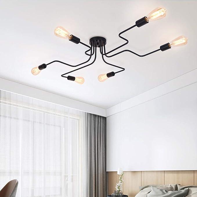 OYIPRO Moderno Candelabro Negro Lámpara de techo 6 E27 para sala ...