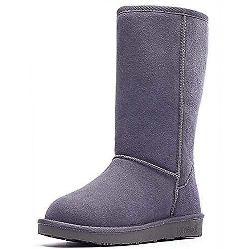 Winter Snow Mid Boots Almond leather Boots Calf ZHZNVX Coffee Fall Shoes Nubuck HSXZ for Comfort Flat Burgundy Casual Black Boots Women's Almond Gray qxvw8X