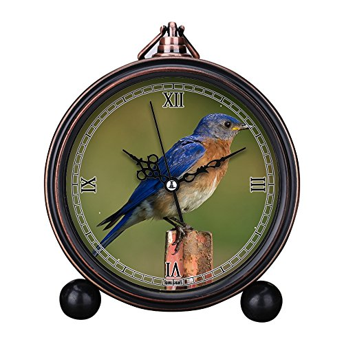 Clock Bluebird (Vintage Retro Living Room Decorative Non-ticking, HD Glass Lens, Easy to Read, Quartz, Analog Large Numerals Bedside Table Desk Alarm Clock-053.Bluebird Bird Perched)