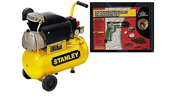 Compresor de aire Stanley D210/8/24 24 LT, lubricado, 2 HP 8 bar + Taladro en caja: Amazon.es: Bricolaje y herramientas