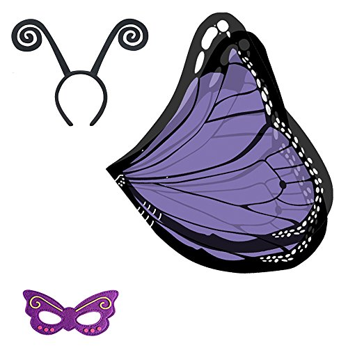 Baby Song Monarch Butterfly Wings Costume with Headband&Mask Purple Butterfly Wings for Girls -
