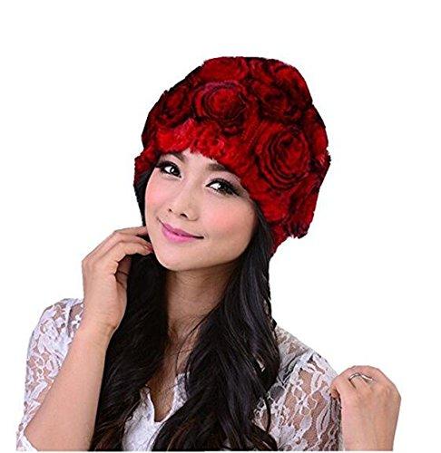 MEEFUR 100% Real Genuine Rex Rabbit Fur Knitted Fur Rose Hat Multi Color (Red) (Hat Rex Rabbit)