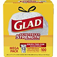 Glad Tall Kitchen Drawstring Trash Bags - 13 Gallon - 100 Count - 4 Boxes/Case