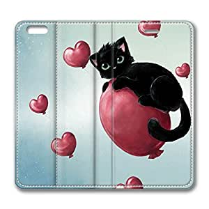 iPhone 6 Plus Case, Fashion Protective PU Leather Flip Case [Stand Feature] Cover Cute Kitty Floating On Heart Baloons for New Apple iPhone 6(5.5 inch) Plus