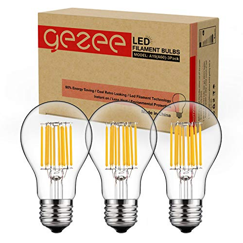 GEZEE 10W Edison Style Vintage LED Filament Light Bulb, 100W Incandescent Replacement,Warm White 2700K,1000LM, E26 Medium Base Lamp, A19(A60) Antique Shape, Clear Glass Cover,Dimmable(3-Pack)