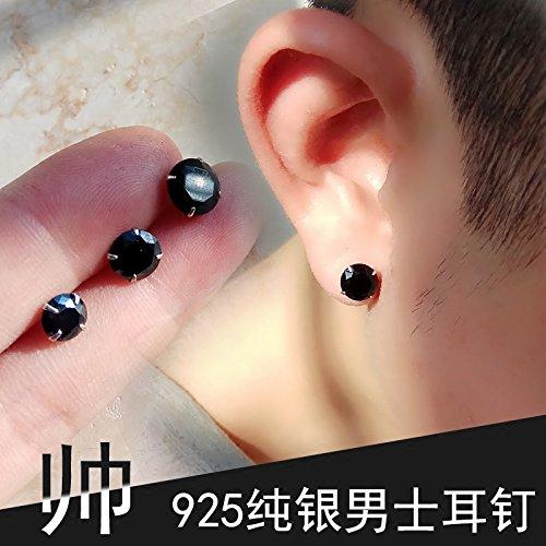 S925 sterling silver hypoallergenic earrings Ja and South Korea round black men influx of men and women only simple earrings zirconium diamond earrings single (Zirconium Earring Round)