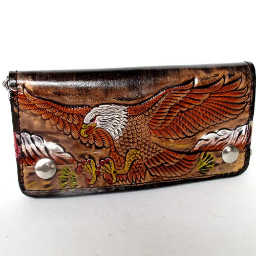 BIKER / TRUCKER CLUTCH WALLET WITH SAFTY CHAIN ** COOL GENUINE COW - Shopping Mobile Mall Al