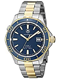 Tag Heuer Aquaracer Blue Dial Yellow Gold Plated and Stainless Steel Mens Watch WAK2120.BB0835