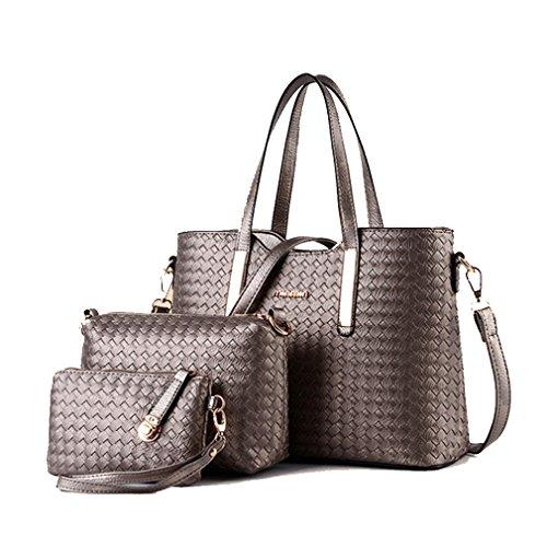 G&t European Style Woven Three-piece Suit High Quality Pu Leather Handbag Messenger Bag Shoulder Bag(c8)