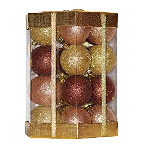 Christmas Ball Ornaments Set Boxed Glitter / Sequin 28 Count (Amber Brown /  Rose Gold / Gold Glitter Mix)