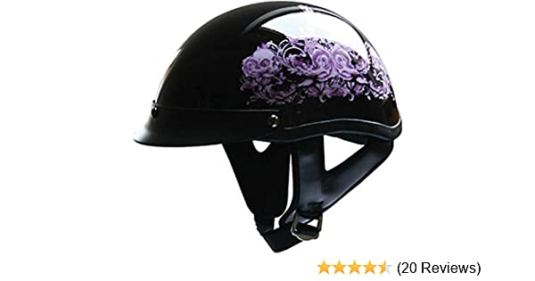 HCI Pink Flower Womens Motorcycle Half Helmet with Visor - ABS Shell 100-141